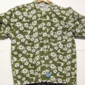 No Fear Men's Hawaiian S/S Shark Button Shirt EUC